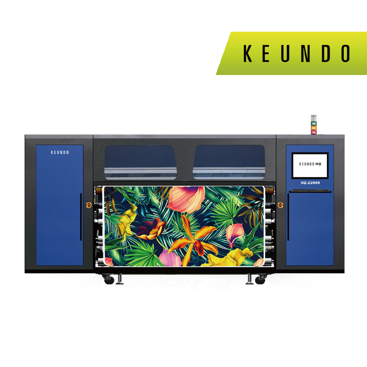 SQ-2204S Industrial Rubber Roll Dye Sublimation Printer with four S3200 heads